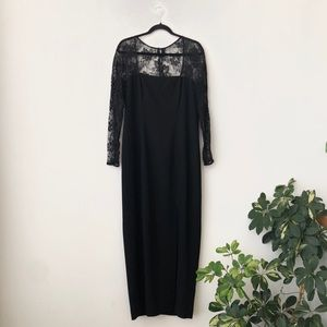 Jones New York LS Black Lace Evening Dress
